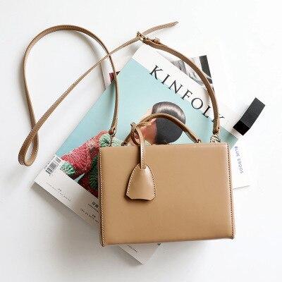 Vintage Genuine Leather Fashion Box Style Buckles Women's Handbag Shoulder Bag Crossbody Messenger Bags Ladies Pouch Bolsa Totes