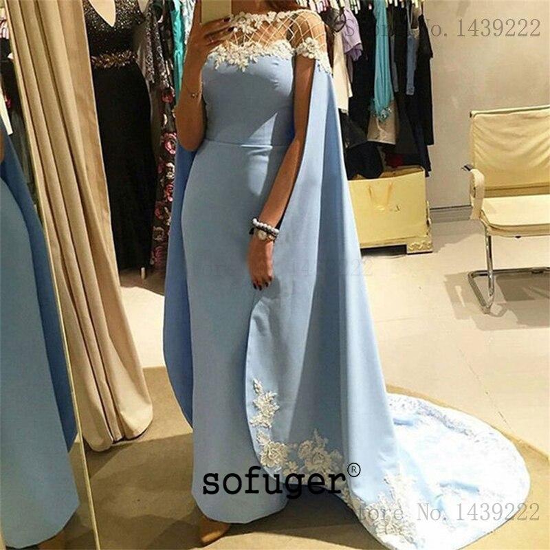 Light Blue Evening Dresses Prom Lace Appliques Long Arabic Special Occasion Robe De Soiree Plus