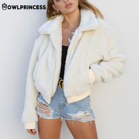 Daily suit OWLPRINCESS Zipper Wool Coat Women Long Sleeve Winter Woman Coat With Pockets Comfortable Warm Coats Femme