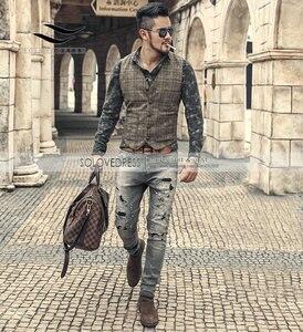 Image 4 - Новинка, серебристый клетчатый костюм, жилет для мужчин, шерстяной твидовый Повседневный облегающий жилет, брикет для мужчин, для свадьбы