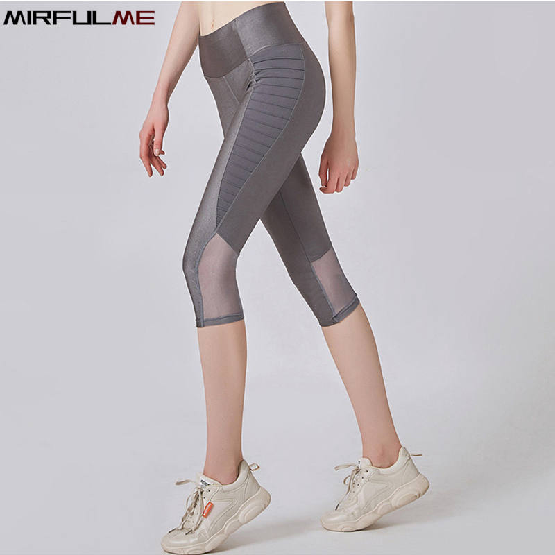 Sport Leggings Women Cropped Yoga Pant Stripe Elastic Mesh Patchwork Capris 3/4 Running Trouser Female Crop Fitness Dance Tights