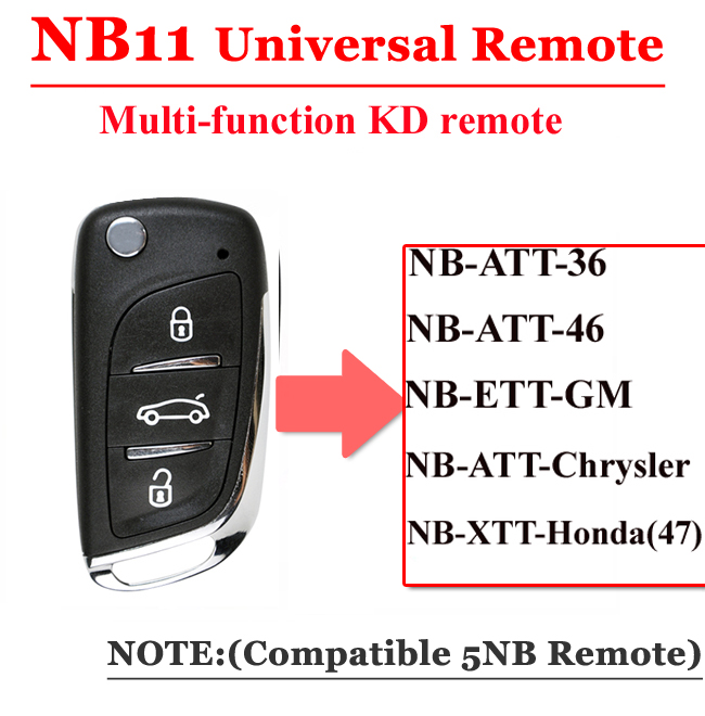 Free Shipping (1 Piece)NB11 Universal Multi-functional Kd Remote 3 Button NB Series Key For KD900 URG200 Remote Master