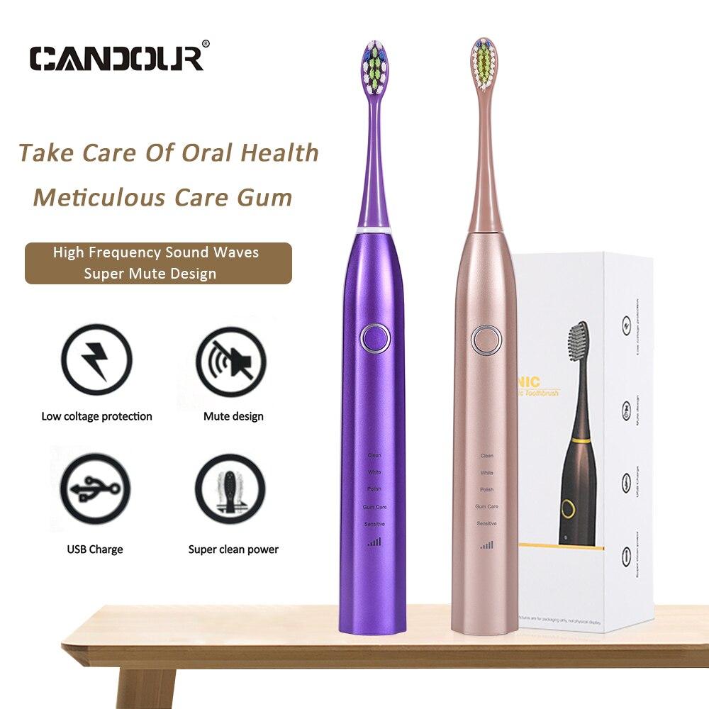 CANDOUR – brosse à dents électrique sonique CD 5168, Rechargeable par USB, 15 modes de voyage, avec 8 têtes, cadeau |