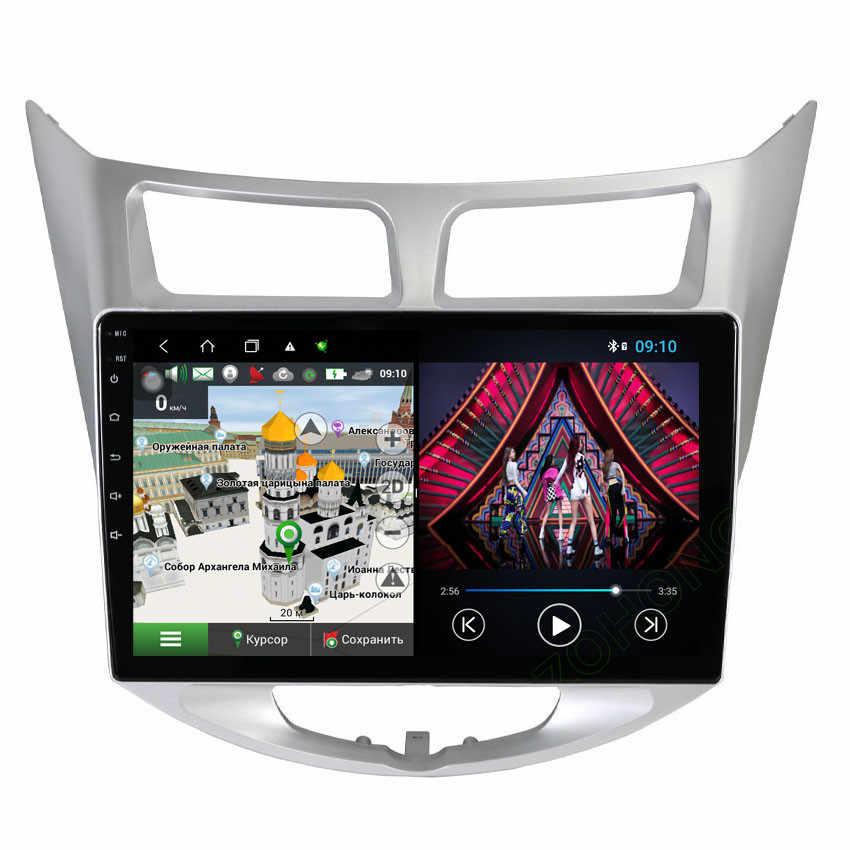 4 64Gb 10.2Inch 4G Octa Core Android10 Autoradio Mobil Multimedia Player untuk Hyundai Solaris Verna Bisa mobil GPS Navigasi Radio