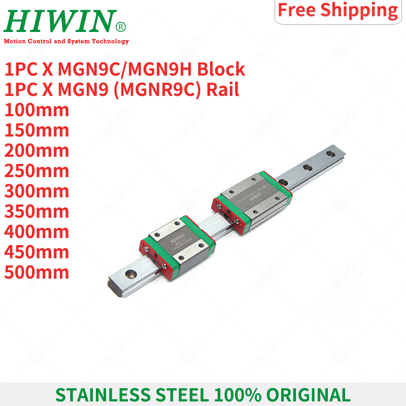 Free Shipping HIWIN Stainless Steel MGN9 250mm 350mm 400mm 450mm 500mm Linear Guide Rail With MGN9C MGN9H Slide Blocks Carriages