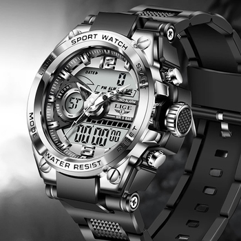 2021 LIGE Sport Men Quartz Digital Watch Creative Diving Watches Men Waterproof Alarm Watch Dual Display Clock Relogio Masculino