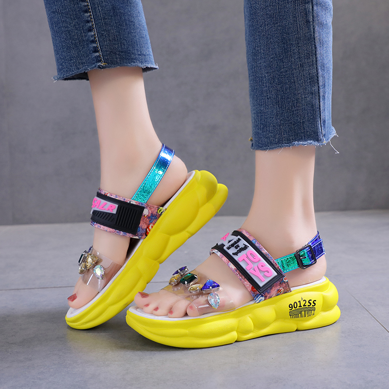 Lucyever 2020 New Women Summer Sandals Rhinestone Flats Platform Shoes Woman  Fashion Crystal Party Kawaii Shoes Calzado Mujer