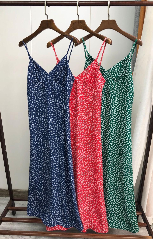 2020 Новое Женское шикарное платье на бретельках без рукавов с цветочным и звездным принтом французское платье миди Русалка|Платья|   | АлиЭкспресс