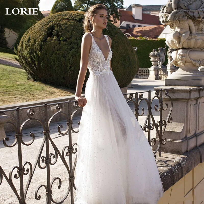 LORIE Princess Wedding Dress A Line V-neck Lace Bride Dress Puff Tulle Wedding Gowns Vestido De Novia