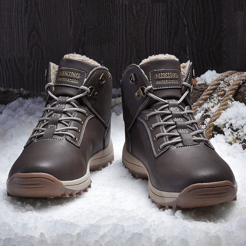 Зимние теплые мужские ботильоны, кожаные меховые плюшевые зимние ботинки, Мужская Уличная обувь с Fu, повседневная обувь, кроссовки с