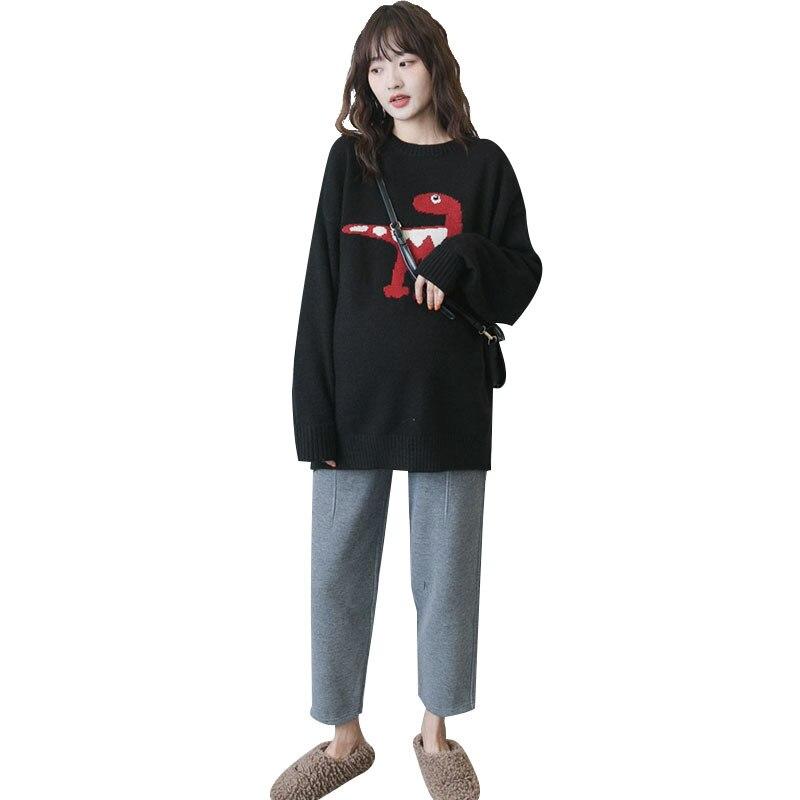 Automne et hiver vêtements de maternité style coréen col rond col rond dessin animé pull ample et grandes tailles par âge pull polyvalent