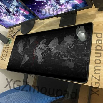 XGZ large mouse pad classic world map custom black lock edge office computer keyboard desk rubber non slip 900x400