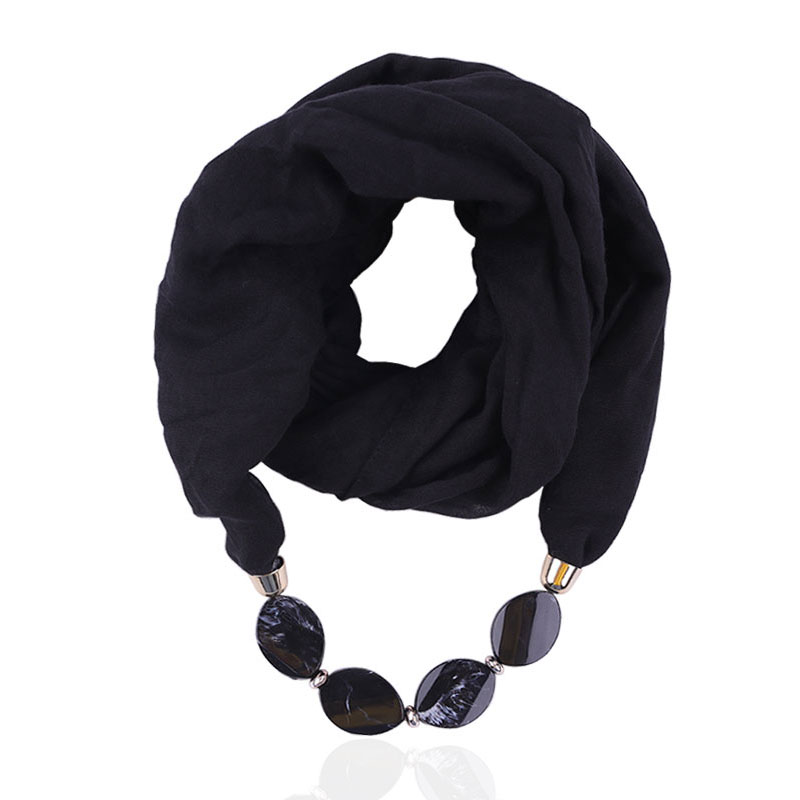 HONGHUACI Decorative Jewelry Necklace Voile Scarf Beads Pendant Head Scarves Women Foulard Femme Hijab Free Shipping
