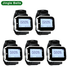 JINGLE BELLS 433.92MHZ 5 pcs of Watch Pager Receiver Wireless Service Call Bells Restaurant Guest Calling Systems from China