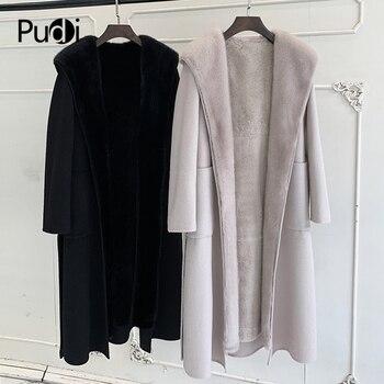 цена на women winter warm wool blends coat jacket with real rabbit fur lining  genuine mink fur hood female overcoats ZY904