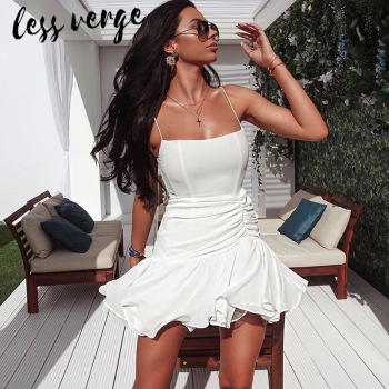 lessverge Ruffles shirred chiffon short white dress Elegant sleeveless autumn black dress Women casual ladies boho beach dress цена 2017