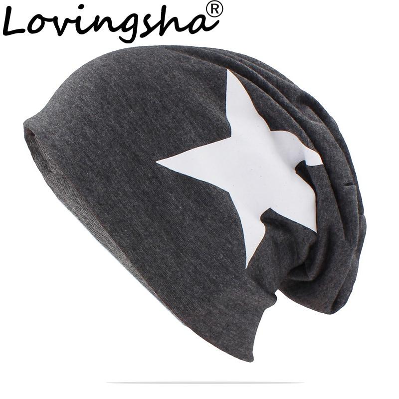 LOVINGSHA Brand Autumn Hats For Women Men Big Star Unisex Teenager Adult Thin Hat Skullies And Beanies Winter Vintage Cap HT151