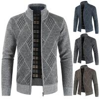 OLOEY New Casual Mandarin Collar Cardigan Male Sweater Coat Thick Wool Geometric Zipper Men's Winter Sweater for 2019