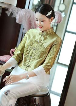 Chinese clothing embroidery short cardigan jacket for women