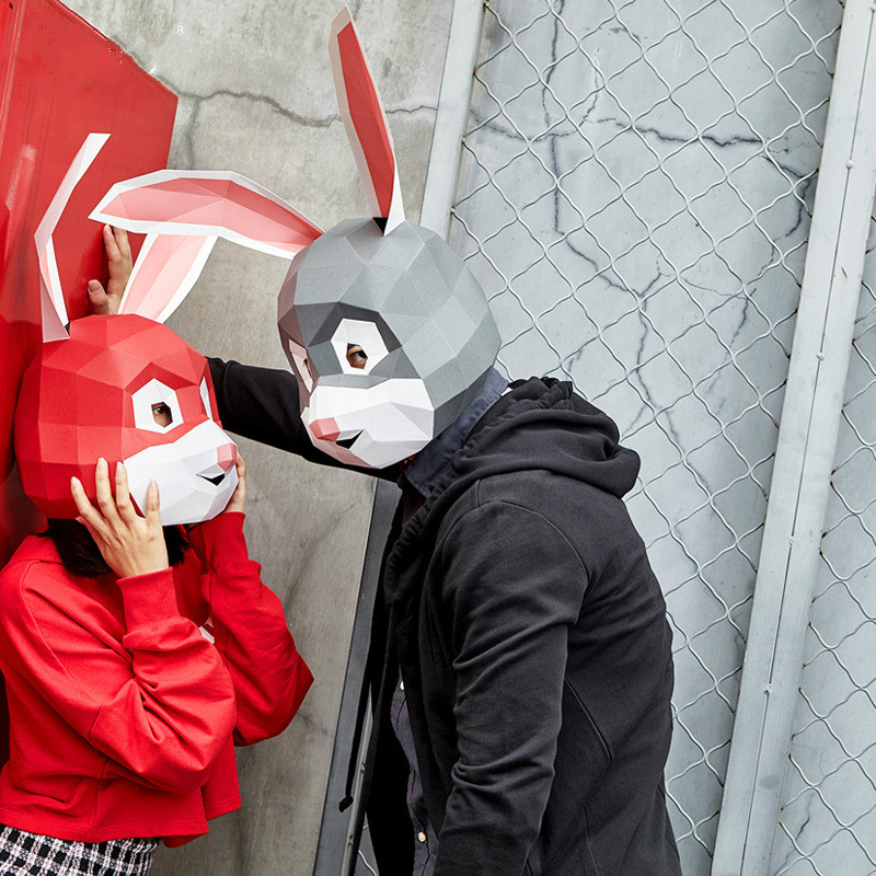 3D Paper Model Mask Fashion Costume Cosplay DIY Paper Craft Model Mask Halloween Prom Party Gift Cute Judy Rabbit Mask