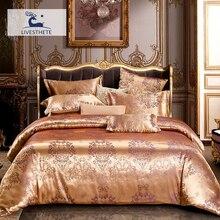 Liv-Esthete Luxury Euro Jacquard Golden Bedding Set Silky Duvet Cover Healthy Skin Pillowcase Double Flat Sheet Bed Linen