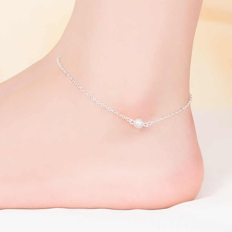 JOYESWING ножной браслет летние пляжные бусины цепь стерлингового серебра 925 браслет на ногу для женщин Металлические геометрические ювелирные изделия ножной браслет бохо