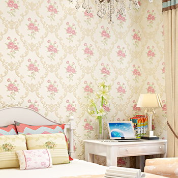 3D Flower Pastoral Non-woven Thickened Wallpaper Warm Bedroom Dormitory Living Room TV Background Wall Paper Home Decor modern simple 3d cross stripe non woven wallpaper living room tv sofa bedroom background wall covering home decor wall paper 3 d