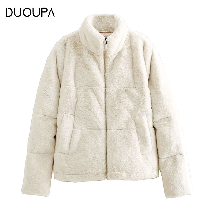 DUOUPA  2019 Autumn And Winter Fashion Womens Cotton Jacket Warm Plush Coat Soft Zipper Fake Fur Short Casual