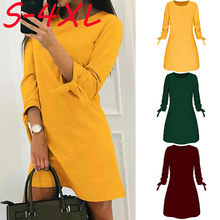 Wanita Gaun Kasual O-neck Warna Solid Busur Elegan Lurus Gaun Musim Semi Longgar Mini Dress Korea Gaun Maxi Gaun # JY(China)