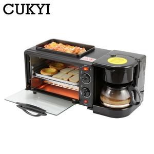 Cukyi multifunções café da manhã que faz a máquina 3 em 1 elétrica máquina de café omelete frigideira pão pizza forno cozimento casa