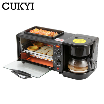 CUKYI Multifunction Breakfast Making Machine 3 in 1 Electric Coffee maker omelette frying pan bread pizza baking oven household