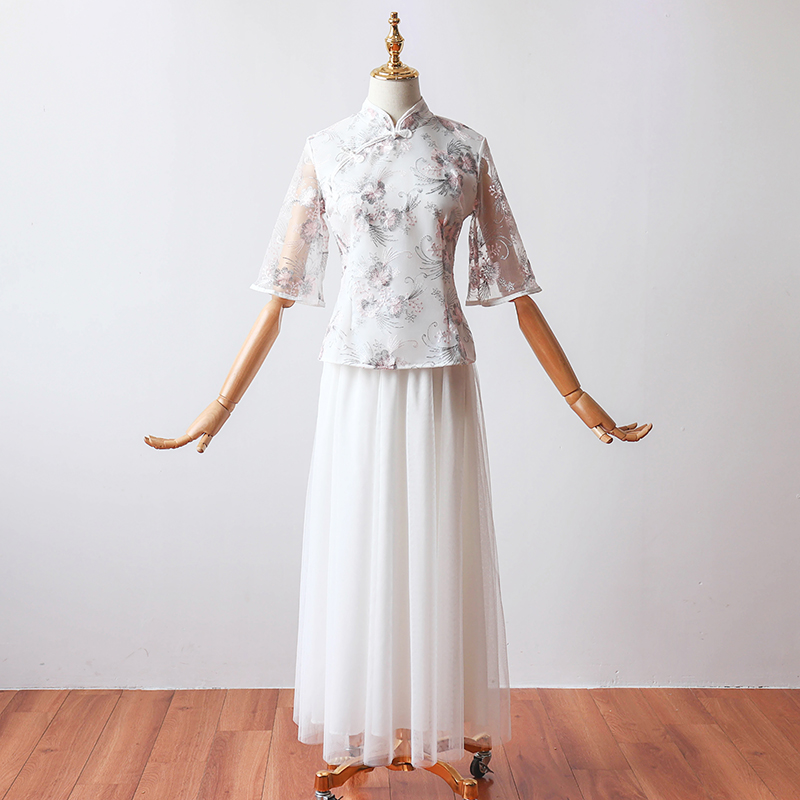 2 Pieces/set White Bridesmaid Dress Tea-Length Traditional Chinese Qipao Half Sleeve Embroidery Vintage Cheongsam Chinese Prom