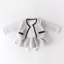2020 Spring Baby Girls Clothes Sets Rompers + Overcoat 0-2Y Baby Girls Clothes Sets Birthday Long Sleeve Plaid Coat Tops + Dress cheap SexeMara Fashion Polyester Cashmere COTTON Acrylic Worsted REGULAR Square Collar Unisex Fits true to size take your normal size