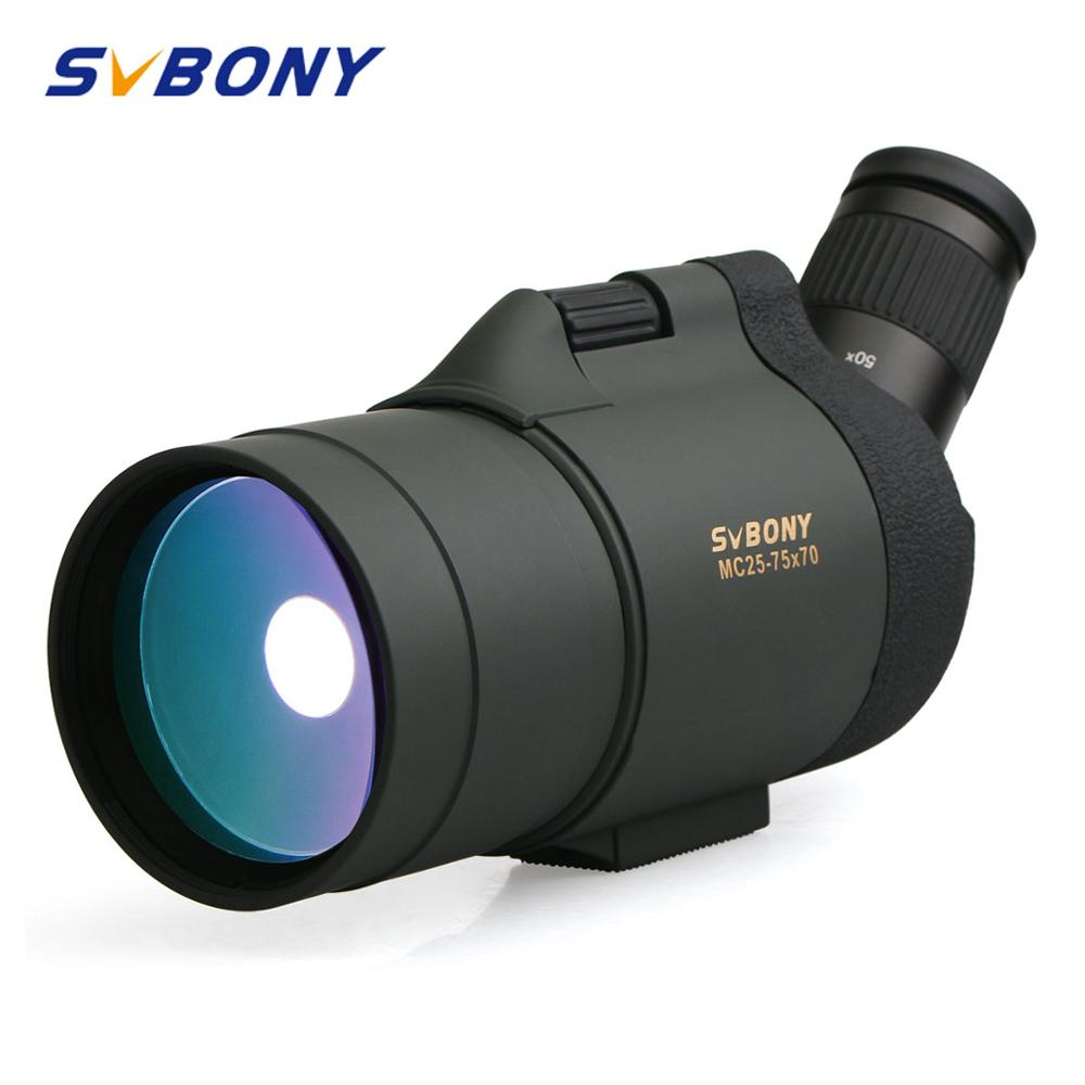 SVBONY 25-75x70 Spotting Scope SV41 Monocular Telescope Refraction Zoom Hunting Optics BAK4 Prism Long Range Waterproof W/Tripod