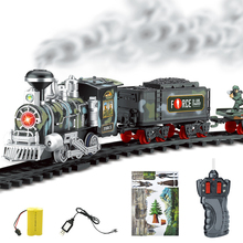 Classic electric steam smoke remote control track train rechargeable with light simulation train sound independent assembly