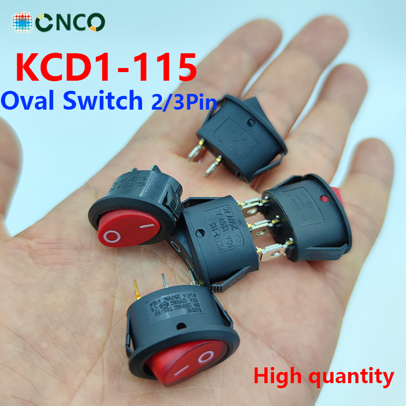 6pcs Mini Rocker Switch AC250V 6A Power Rocker Oval Switch 2/3 Position Copper/Silver Contact 10A 125VAC Push Button Switch