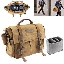 Vintage SLR Photo Camera Single Shoulder Bag Photo Video Soft Canvas Bag Travel Camera Protective Case Fit for Canon/Nikon/Sony цена и фото