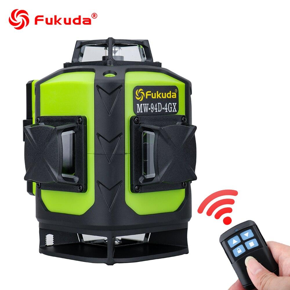 Лазерный уровень Fukuda 16 линий зеленый луч 4D самонивелирующийся 360 градусов вращающийся горизонтальный и вертикальный зеленый 12 перекрестны...