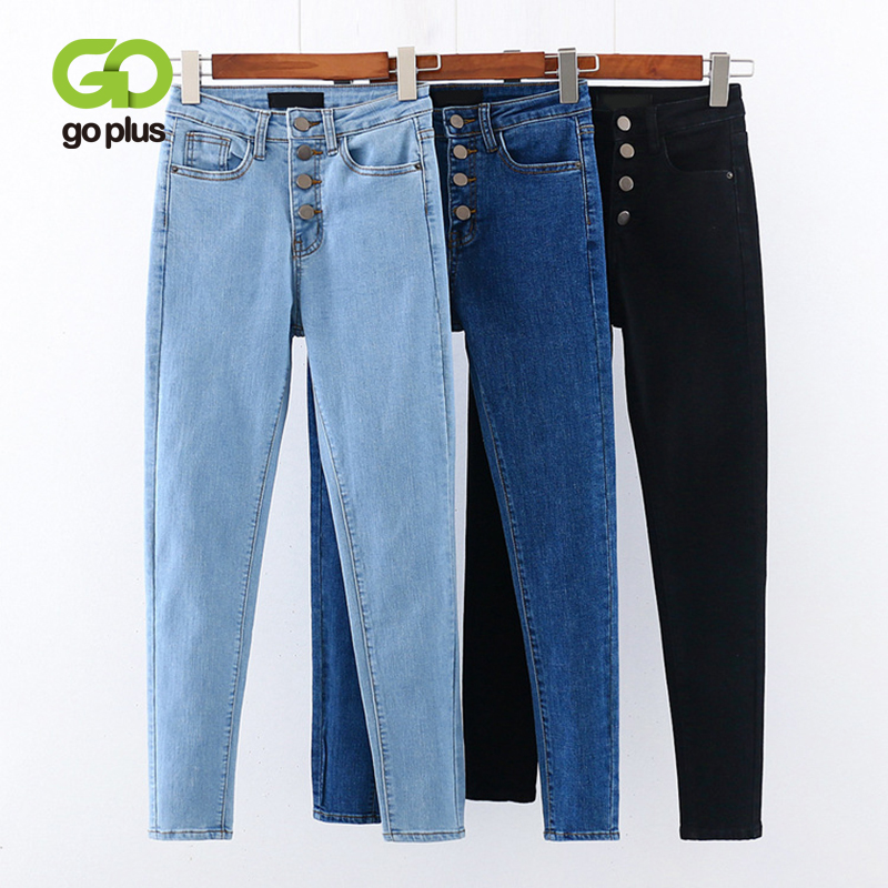GOPLUS Skinny Jeans Woman High Waist Jeans Streetwear Black Blue Denim Pencil Pants Spijkerbroeken Dames Kleding Vrouwen C9879