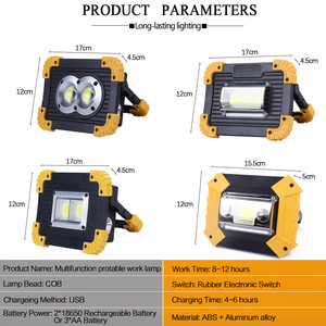 Image 2 - 100W 슈퍼 밝은 Led 휴대용 스포트 라이트 작업 빛 USB RechargeableLed Latern 토치 캠핑에 대 한 2*18650 또는 3 * AA 배터리 사용