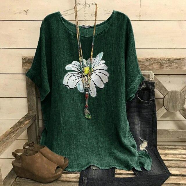 Cotton Women Shirt Harajuku Leisure O Neck Tops Women Vintage Flower Print Shirts New Loose Plus Size Blouses S-5XL Blusas Mujer 1