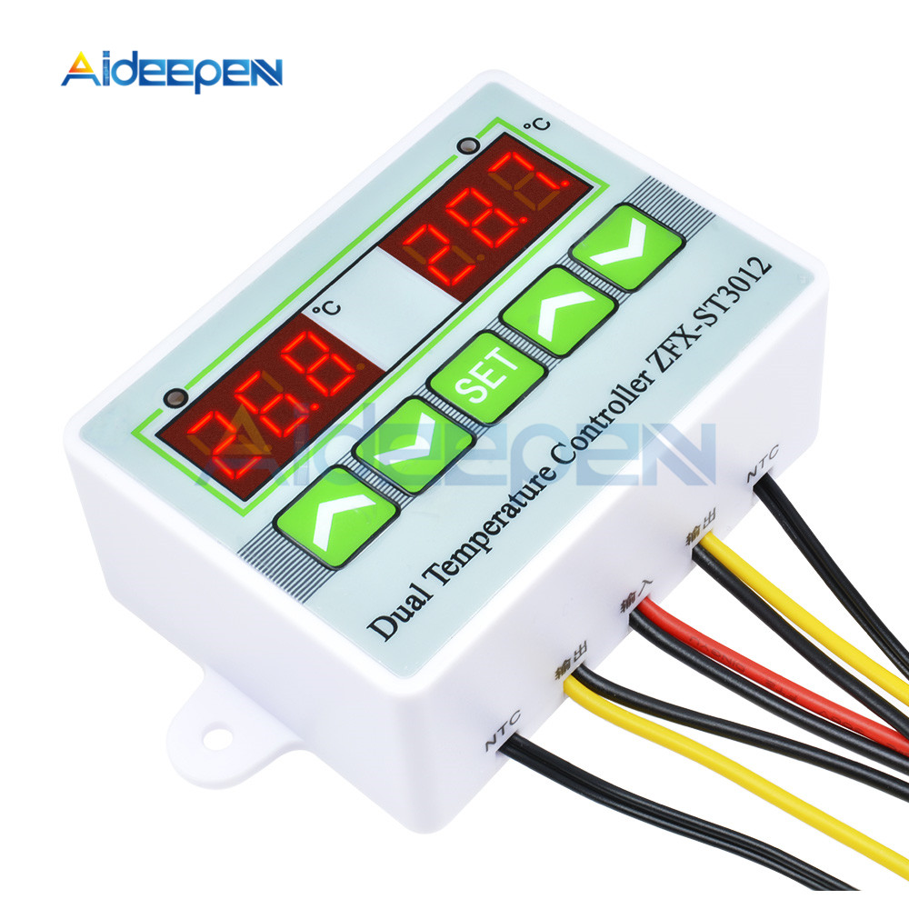 ZFX-ST3012 12//24//220V Dual Digital Temperature Controller 10A Thermostat Switch