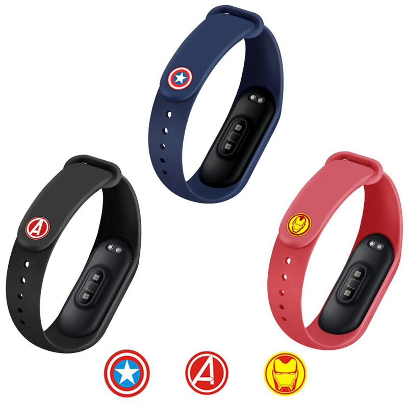 Wristband Marvel The Avengers Pattern Metal Button For Xiaomi Mi Band 4 3 Smart Band Miband Silicone Wrist Strap Buckle Bracelet