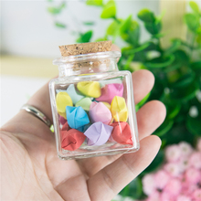 Mini Square Glass Bottle With Corks Stopper Clear Square Empty Glass Bottles 50ml Gift Honey Food Grade Seal Jars Vials 6pcs