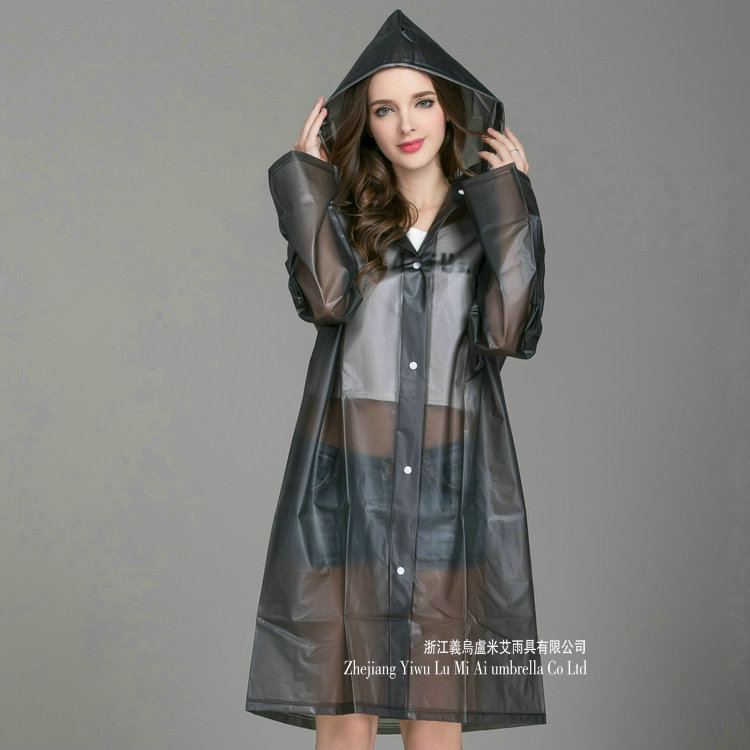 سترة مضادة للماء معطف واق من المطر النساء البلاستيك السفر الأسود السيدات مقنعين معطف واق من المطر طويل أنيق كتيمة المرأة معطف واقي من المطر JJ60YY
