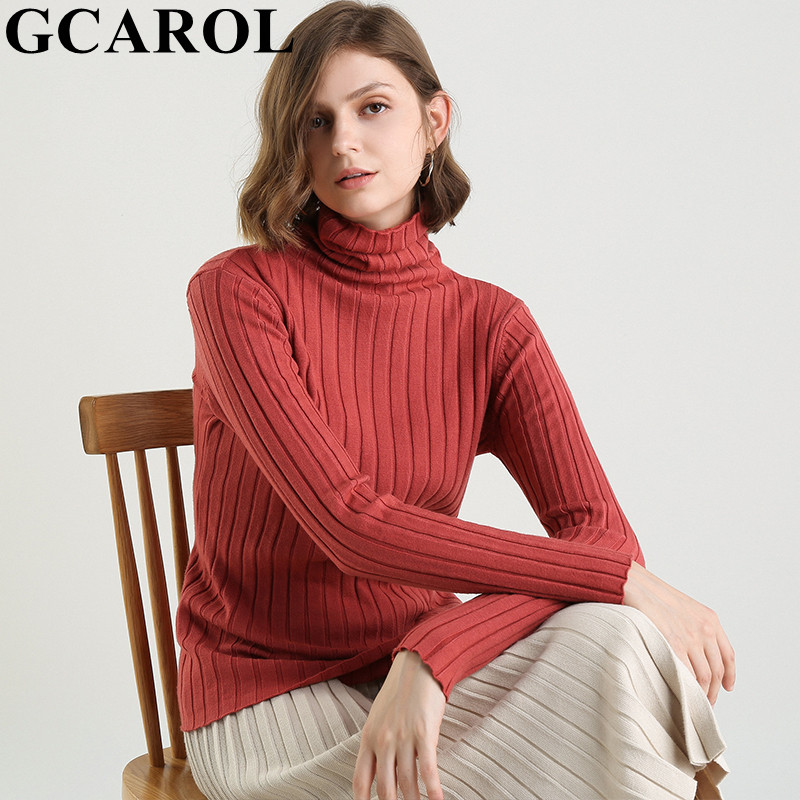 GCAROL New Women Jacquard Stripe Turtleneck Sweater 30 % Wool Minimalist  Jumper Warm Autumn Winter Spring Stretch Candy OL Knit