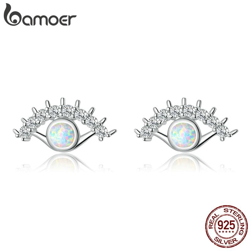 Bamoer Lucky Eye Stud Earrings For Wonen 925 Sterling Silver Opal Jewelry Luxury Gifts Anti-allergic Ear Stud For Kids SCE856