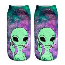 Ankle-Socks Hosiery Aliens Printed Funny Cartoon Women Cotton Low-Cut Art-Sokken New-Arrival