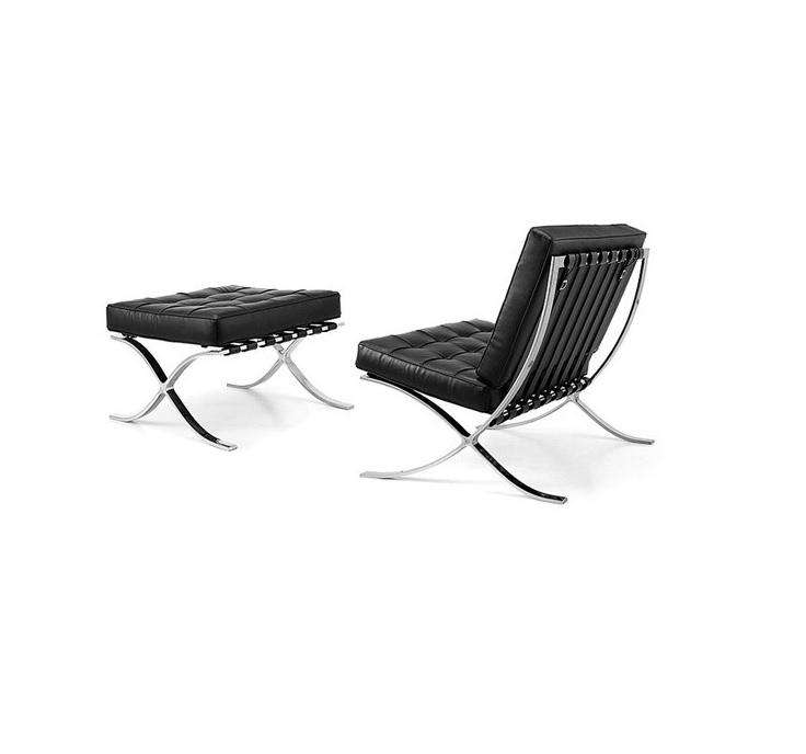 2pcs Pack, Modern Lounge Chair with Ottoman / Satin Polish Stainless Steel Frame