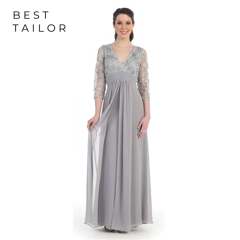 2019 Mother Of The Bride Dresses For Weddings Silver Full Length Long V-Neck 3/4 Sleeve Chiffon Empire Kurti Vestido De Madrinha